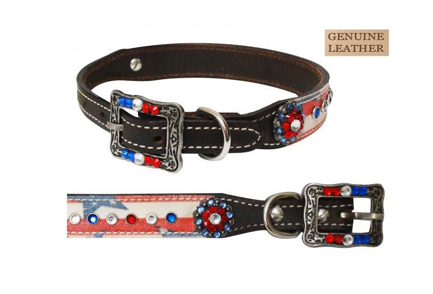 PFR175823  Showman Couture ™ Genuine leather dog collar with stars and stripes