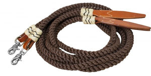 PFR19082 Showman ® 8ft rolled nylon split reins with leather poppers