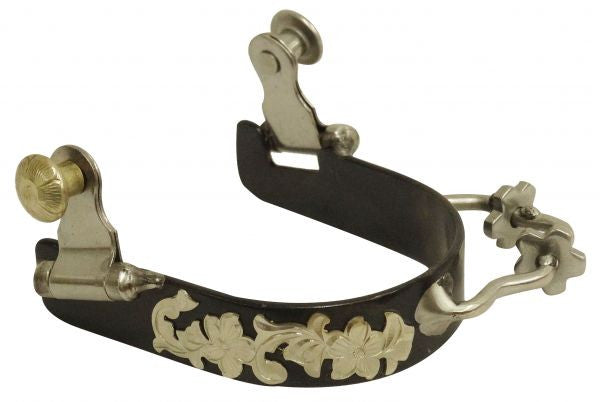 PFR258786 Showman ® Ladies black steel bumper rowel spur with silver overlays