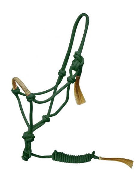 PFR4320 Adjustable rope halter with a rawhide braided cowboy nose band