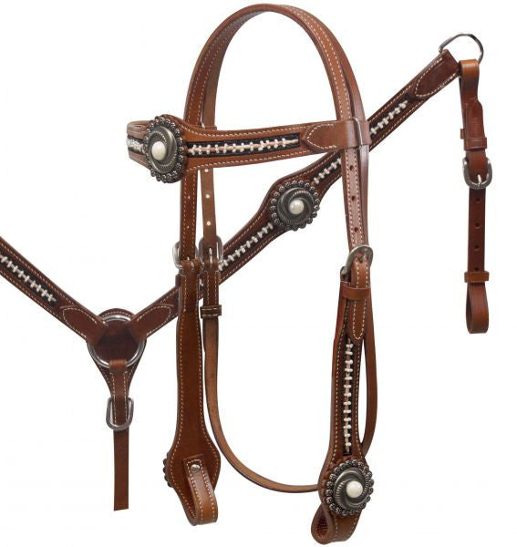 PFR5031 Showman ® Beaded Concho Headstall set with Pearl Inlay Conchos