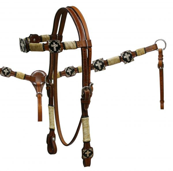 PFR546 Double stitched leather rawhide braided browband headstall and breast collar set