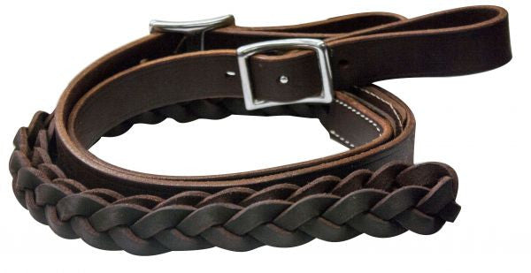 PFR5645 One piece leather braided middle roping rein with buckles
