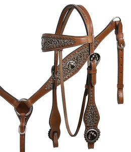 PFR7002 Showman ® Filigree overlay headstall and breast collar set with cross guns conchos