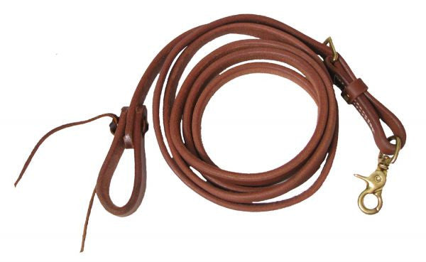 "PFR7412 Showman™ 5/8"" X 8' long oiled harness leather adjustable roping rein"
