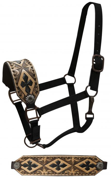 PFR7520 Showman ® FULL SIZE Leather bronc halter with cross design