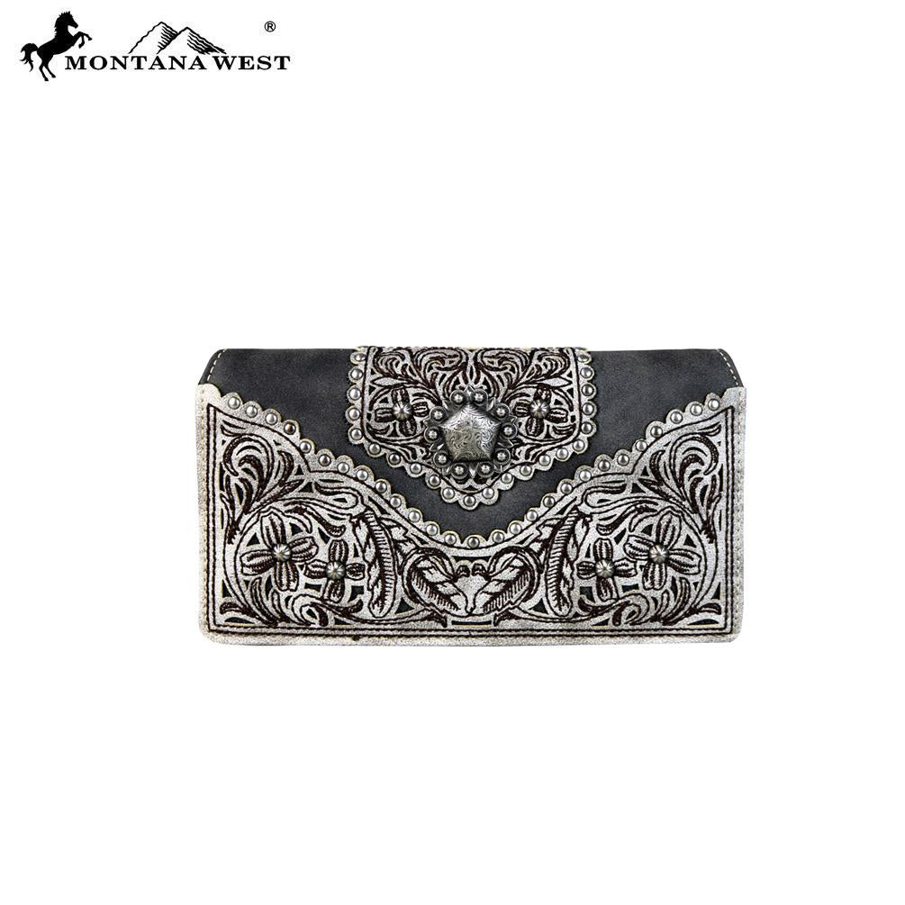 PFRMW604-W010 Montana West Concho Collection Secretary Style Wallet
