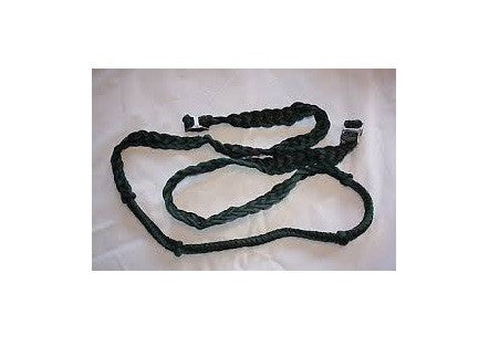 PFR27109 Showman™ braided nylon barrel reins with easy grip knots Black