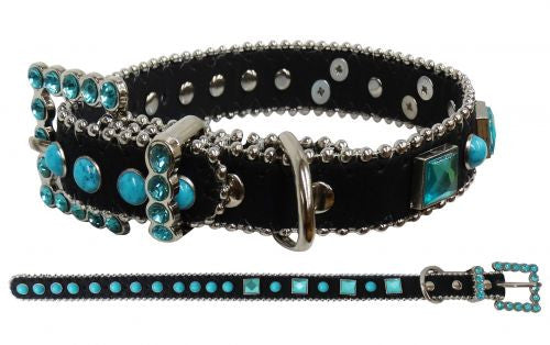 PFRD021 Showman Couture ™ Black leather dog collar with turquoise stones