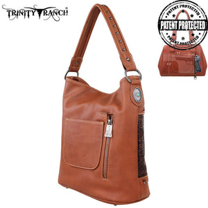 PFRTR20G-916 Trinity Ranch Tooled Design Handbag Brown