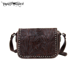 PFRTR22-L8287 Montana West Trinity Ranch Tooled Design Collection Handbag Coffee