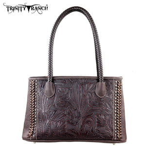 PFRTR25-8394 Trinity Ranch Tooled Design Collection Handbag Coffee