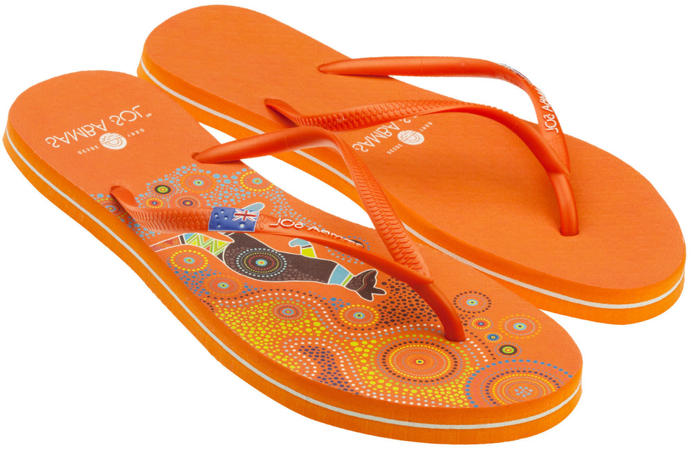 Samba Sol Women's Countries Collection Flip Flops - Australia Orange