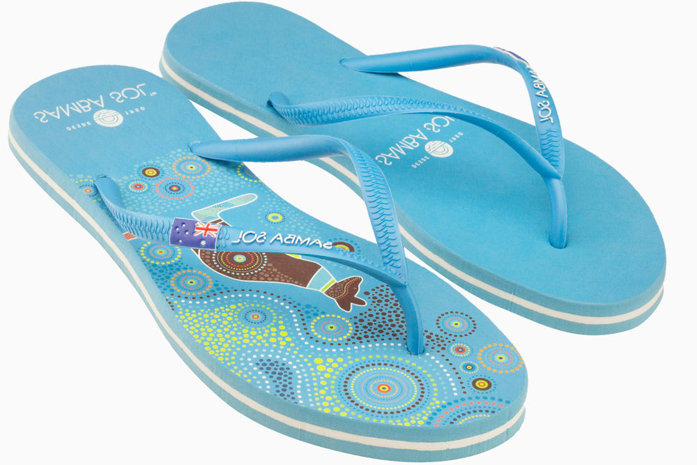 Samba Sol Women's Countries Collection Flip Flops - Australia Blue