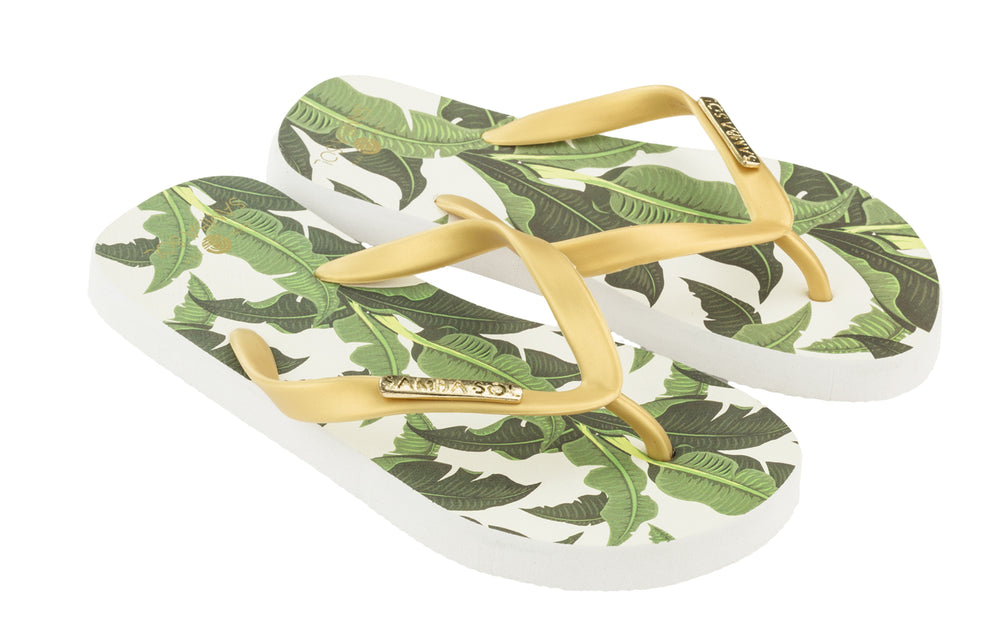 Samba Sol Kid's Fashion Collection Flip Flops - Banana Leaf Gold
