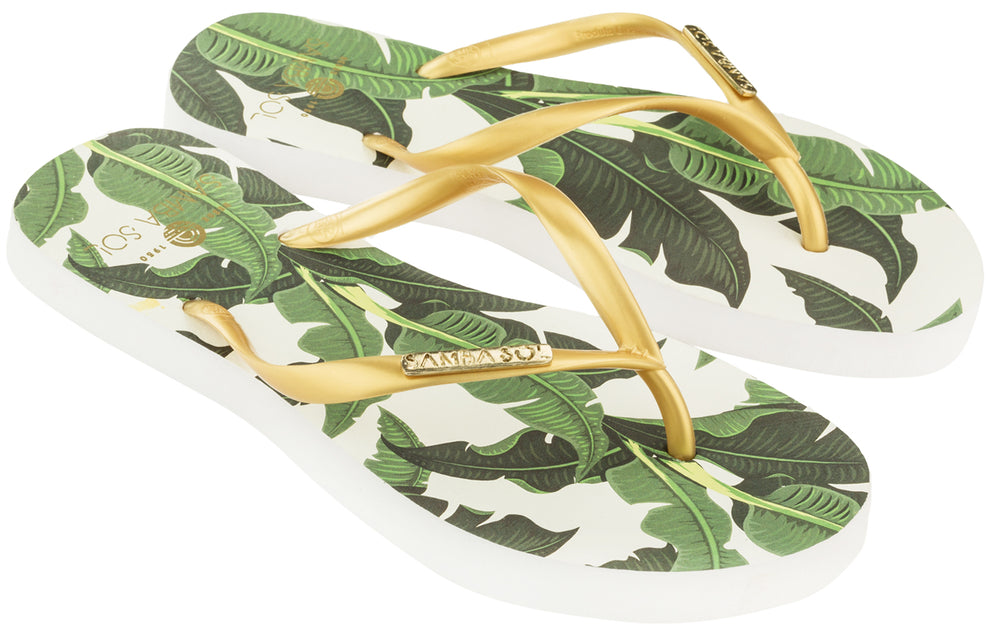 Samba Sol Women's Fashion Collection Flip Flops - Banana Leaf Gold