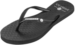 Women's Crystal Collection Flip Flops - Black Crystal