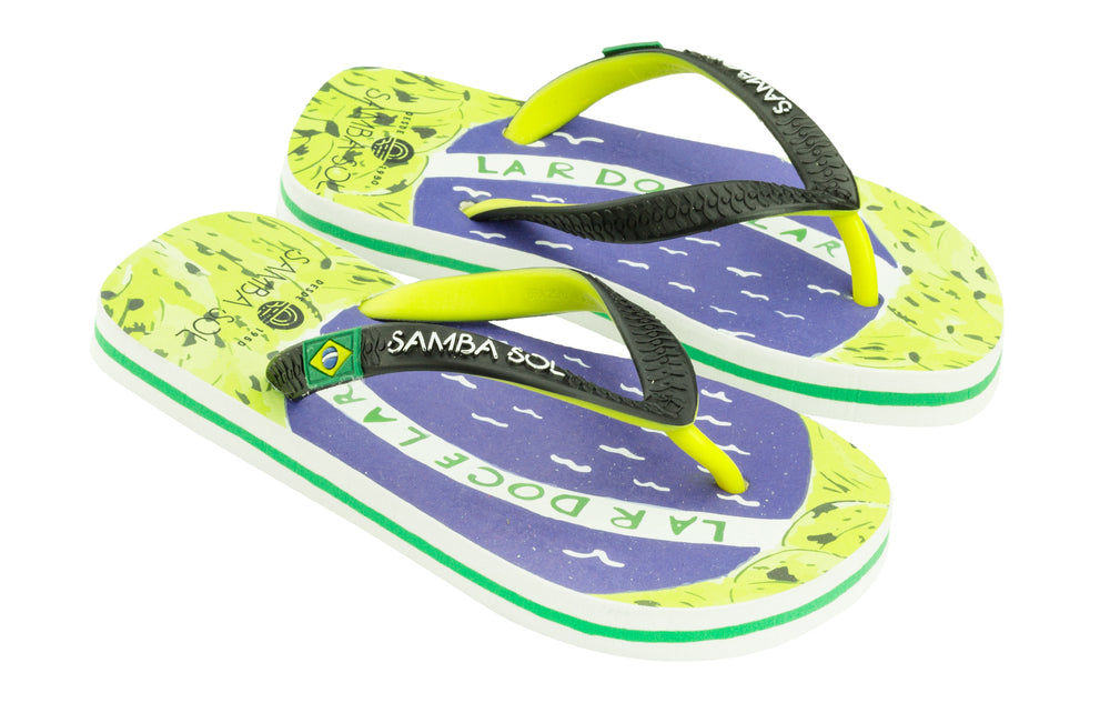 Samba Sol Kid's Countries Collection Flip Flops - Brazil Art