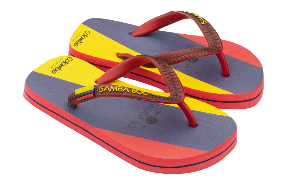 Samba Sol Kid's Countries Collection Flip Flops - Colombia