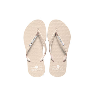 Samba Sol Women's Crystal Collection Flip Flops - Cream Crystal