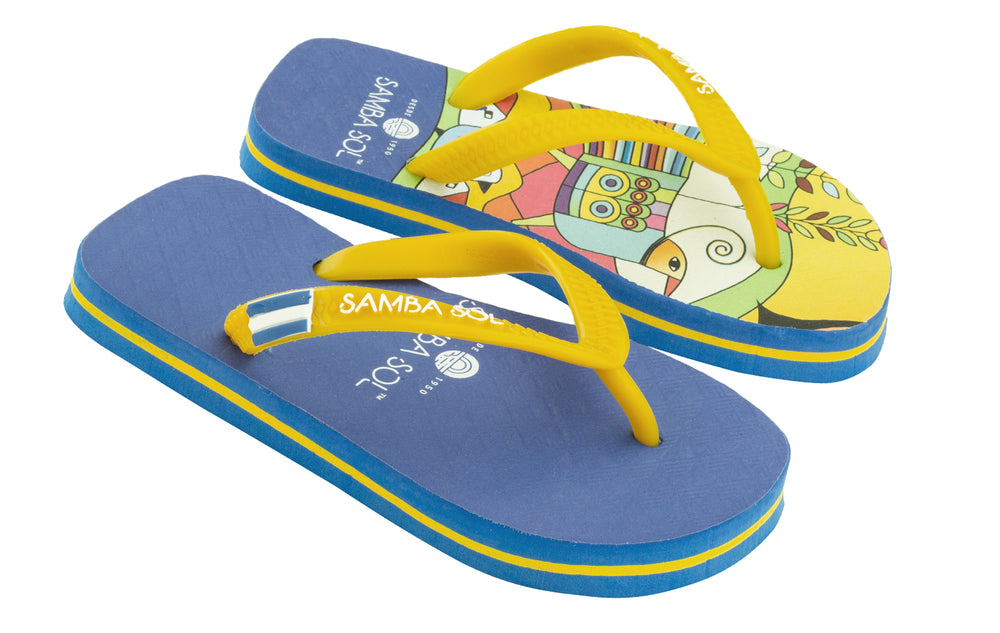 Samba Sol Kid's Countries Collection Flip Flops - El Salvador