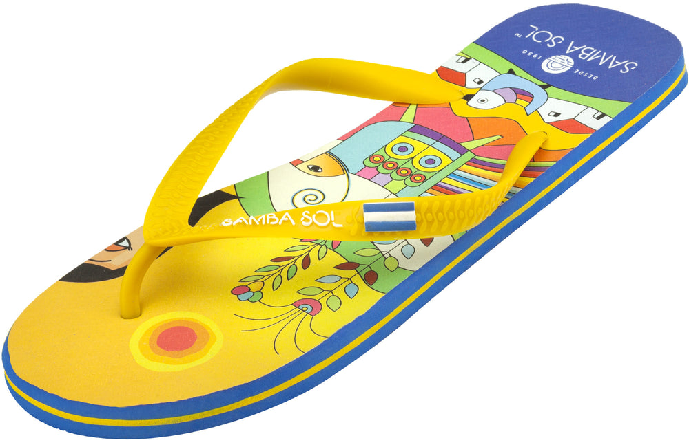 Samba Sol Men's Countries Collection Flip Flops - El Salvador-Samba Sol