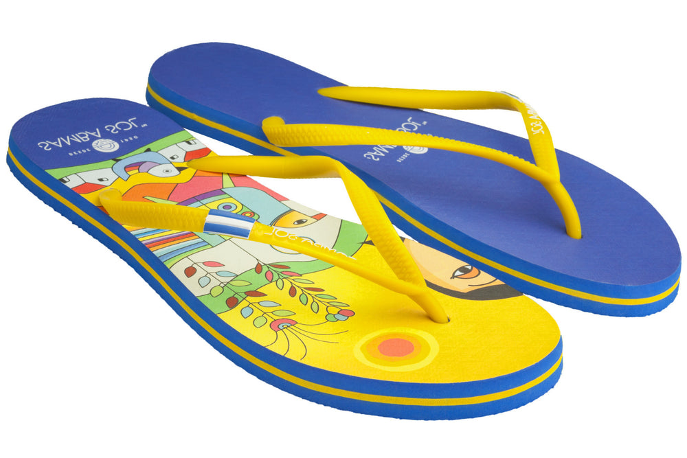 Samba Sol Women's Countries Collection Flip Flops - El Salvador