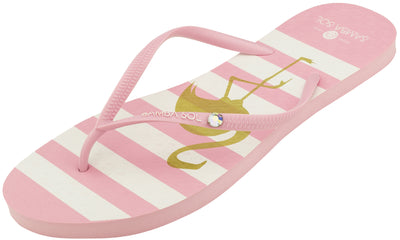 Crystal Collection Flip Flops - Flamingo With Crystal