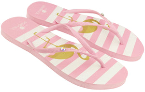 Women's Crystal Collection Flip Flops - Flamingo Crystal