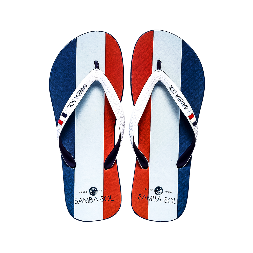 Samba Sol Men's Countries Collection Flip Flops - France-Samba Sol