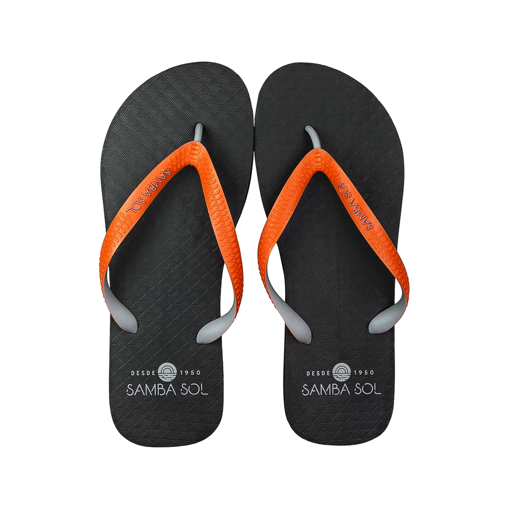 Samba Sol Men's Beach Collection Flip Flops - Black/Orange/Grey