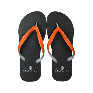 Samba Sol Men's Beach Collection Flip Flops - Black/Orange/Grey-Samba Sol