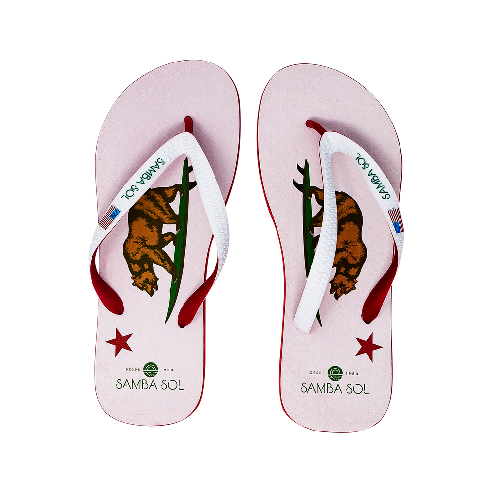Samba Sol Men's Beach Collection Flip Flops - California Bear