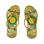 Women's Fashion Collection Flip Flops - Gold Mandala