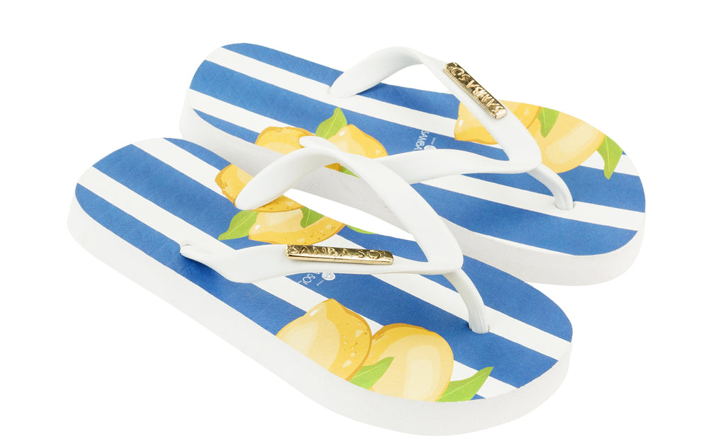 Samba Sol Kid's Fashion Collection Flip Flops - Capri Lemon
