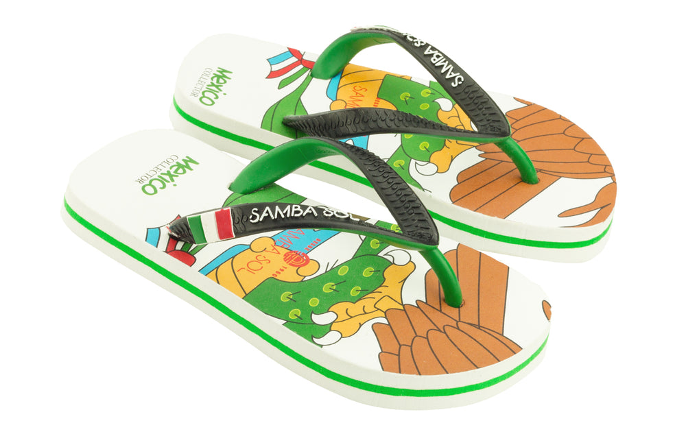 Samba Sol Kid's Countries Collection Flip Flops - Mexico