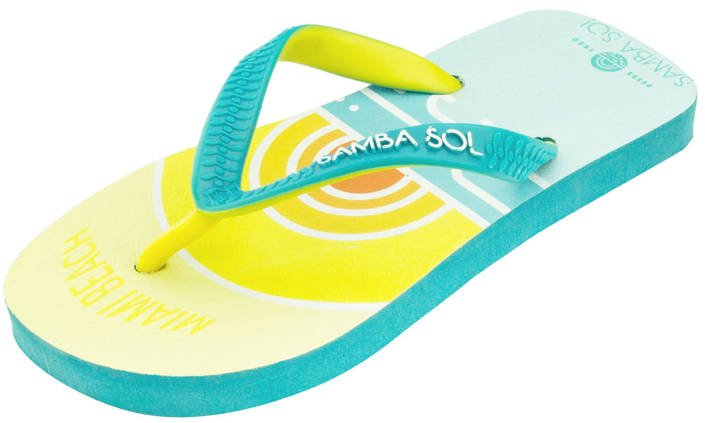 Samba Sol Kid's Beach Collection Flip Flops - Miami Beach Sunset-Samba Sol