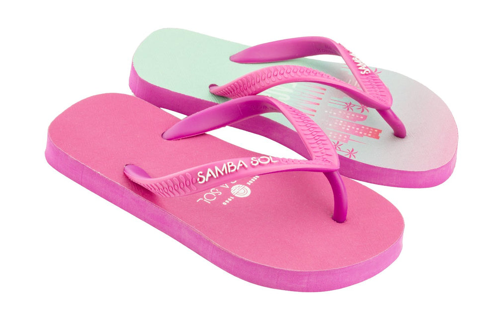 Samba Sol Kid's Beach Collection Flip Flops - Miami Beach Pink