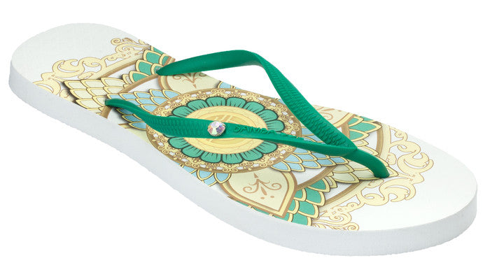 Women's Crystal Collection Flip Flops - Mandala White
