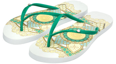 Crystal Collection Flip Flops - Mandala White