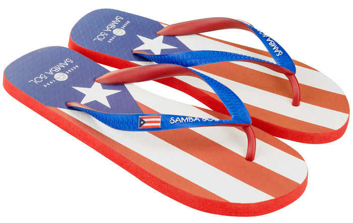 Samba Sol Men's Countries Collection Flip Flops - Puerto Rico-Samba Sol