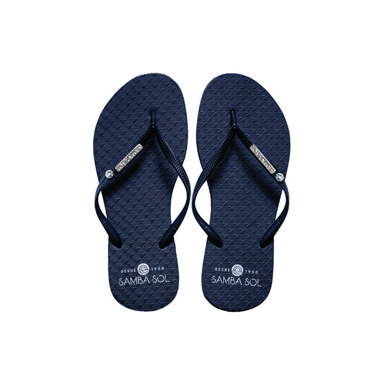 Samba Sol Women's Crystal Collection Flip Flops - Navy Crystal