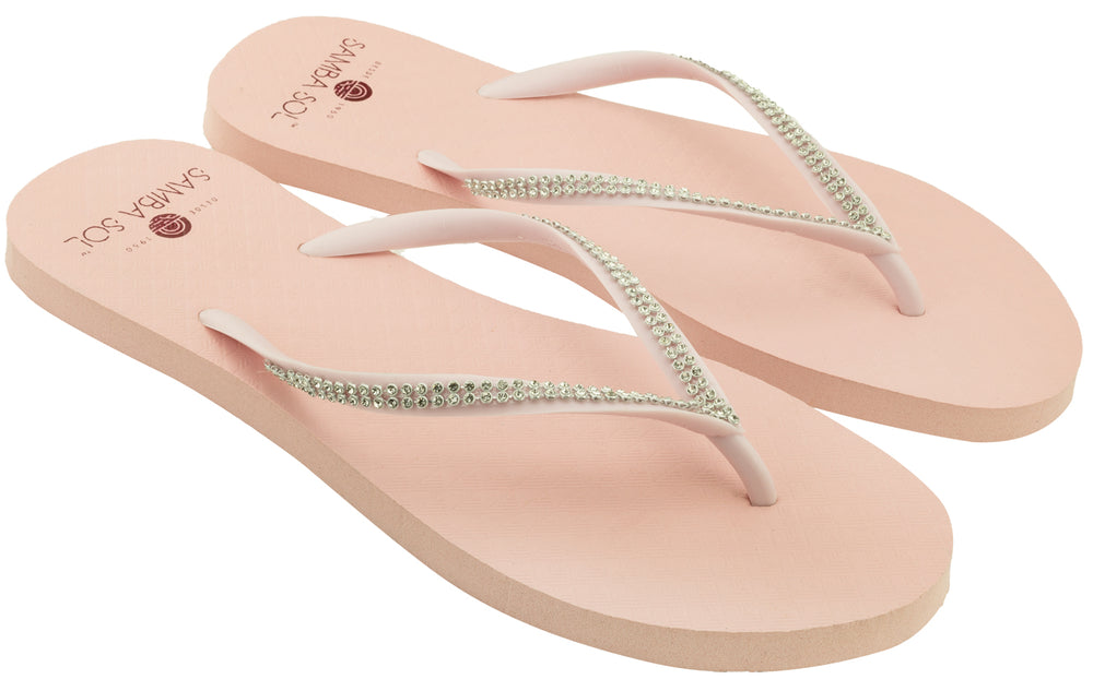 Women's Crystal Collection Flip Flops - Petal