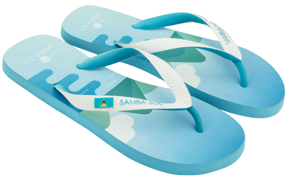 Men's Flag Collection Flip Flops - St Lucia