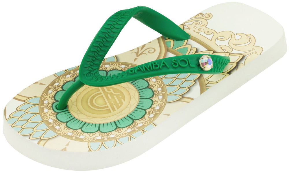Kid's Beach Collection Flip Flops - Mandala White