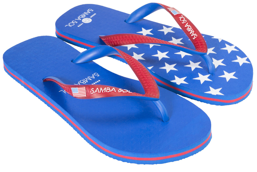 Samba Sol Men's Countries Collection Flip Flops - USA 1-Samba Sol
