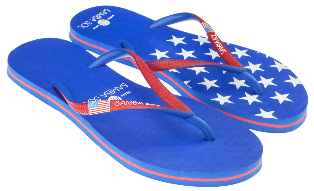 Samba Sol Women's Countries Collection Flip Flop - USA 1