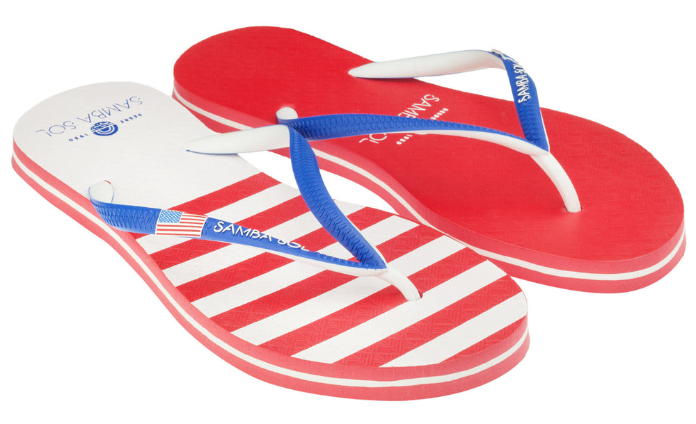 Samba Sol Women's Countries Collection Flip Flop - USA 2