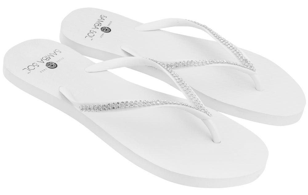 Women's Solids Collection Flip Flops - White