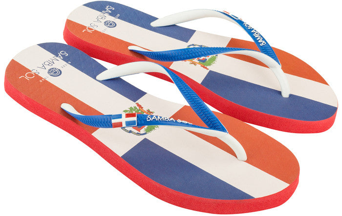 Samba Sol Women's Countries Collection Flip Flops - Dominican Republic